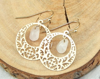 Rose Quartz Earrings, Gold Disc Earrings, Filigree Drop Earrings