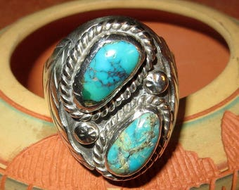 Angela Lee Navajo Double Blue Turquoise Ring Sterling Silver Size 10 Signed Heavy Native American