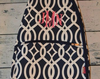 ON SALE Personalized Tennis Racket Cover Bag Navy Geometric Print