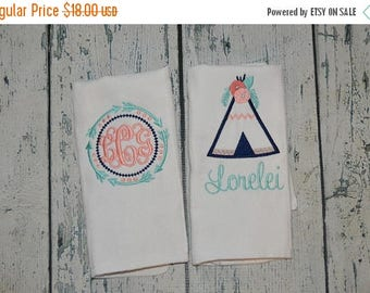 ON SALE Personalized Girls Tribal Arrow and Teepee Flowers Burp cloth Set of 2 Monogrammed