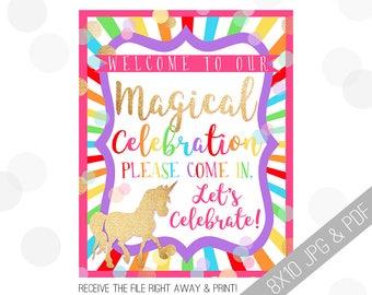 Unicorn Party Printables | Unicorn Welcome Sign | Door Sign | Rainbow Unicorn | Rainbow Unicorn Party | Party Sign Unicorn |