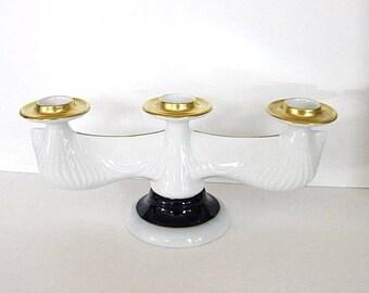Vintage Czech Porcelain Triple Candle Holder Blue, White, Gold Centerpiece