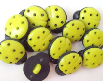 """See Shop Announcement for 60%off Discount Code - Lady Bug Lime Green Buttons - 9/16"""" x 1/2"""" - YOU PICK QUANTITY 12 - 60"""