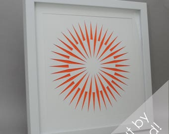 sun burst - modern PAPER CUTTING - handmade art, unique wall art, details, pattern, texture,choose your own color, design,modern art,white