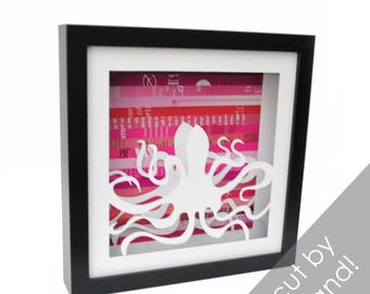 25% off SALE - Octopus shadowbox- made from recycled magazines, beach, summer, ocean creature, 8 legs, pink, you choose your color,paper cut