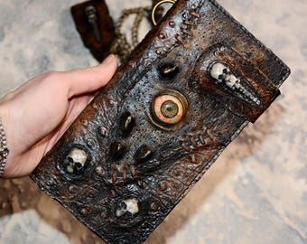 Zombie Mens wallet Leather wallet men Long wallet Chain wallet Biker wallet Skull wallet Biker wallet chain Mens wallet chain Zombie eye