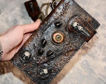 Zombie Mens wallet Leather wallet men Long wallet Chain wallet Biker wallet Skull wallet Biker wallet chain Mens wallet chain Zombie eye