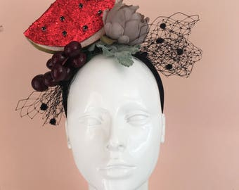 Carmen Miranda style headband hairband with veil, watermelon, cherries flowers