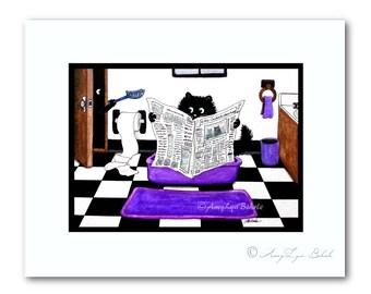 Peek&Boo Black Cats Bathroom Litter Pan Humor -ArT Print by Bihrle pb246