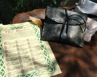Hand Made Poplar Elder Futhark Rune Set~Leather Pouch~Divination~Advice