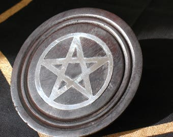 Black and Silver Wood Altar Tile~Pentacle