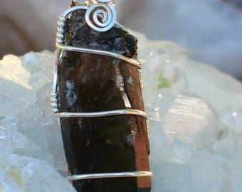Smoky Quartz~Black Crystal~Energized by the Solar Eclipse~.925 Sterling Silver Wire