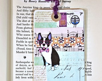 Collage Bookmark * gift tag* packaging * french bulldog * collage * dog * journaling tags * altered art