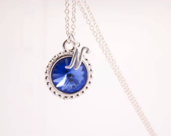 Personalized Initial Necklace, Sapphire Birthstone Crystal Necklace Choose your Birthstone