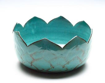 Medium Aqua Blue Green Artichoke Bowl