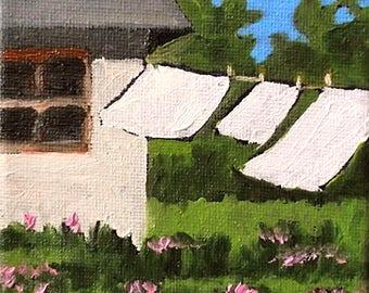 Miniature Clothesline Art Painting 4x4 Plein Air  ImpressionistLandscape Cottage Backyard Laundry Clothesline Art Lynne French