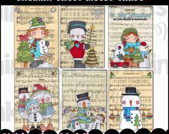 Snowman Sheet Music Cards - Immediate Download