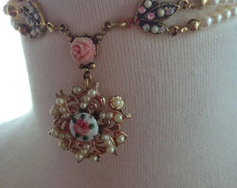 Vintage  Guilloche Rose and Pearl Marie Antoinette Choker