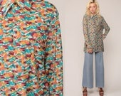 Boho Top 70s Shirt Hippie Blouse NOVELTY Bohemian HOUSE PRINT Psychedelic Button Up 1970s Vintage Long Sleeve Bohemian Op Art Blue Large
