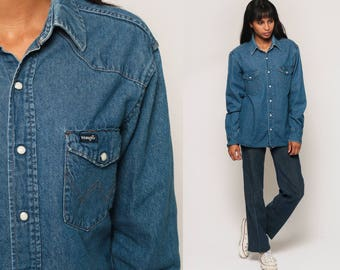 WRANGLER Denim Shirt 90s Western Jean Pearl Snap Oversized Grunge Blue 1990s Top Long Sleeve Button Up Vintage Medium Large