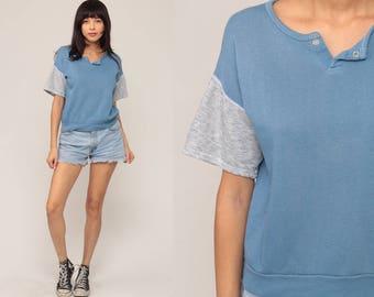 Short Sleeve Sweatshirt 90s Plain Shirt Grunge Blue Shirt Slouchy Sweatshirt Top Grey 80s Vintage Normcore Medium Large