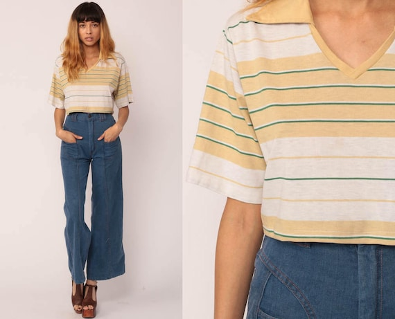 70s Crop Top Striped Tshirt Collared Vintage Crop Tee Boho
