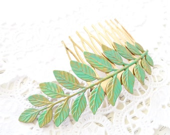 Patina Leaf Branch Hair Comb - Woodland Branch Hair Comb - Verdigris Green Moss Patina Leaf Hair Comb - Woodland Hair - Wedding Hair