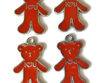 Bear Charms Enamel- Red  (4)