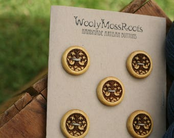 5 Wood Bird Buttons- Yellowheart Wood- Wooden Buttons- Eco Craft Supplies, Eco Knitting Supplies, Eco Sewing Supplies