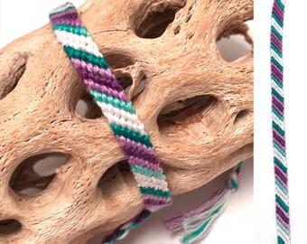 Skinny candy stripe friendship bracelet - purple - green - white - narrow - simple - knotted - woven - embroidery floss - macrame - handmade