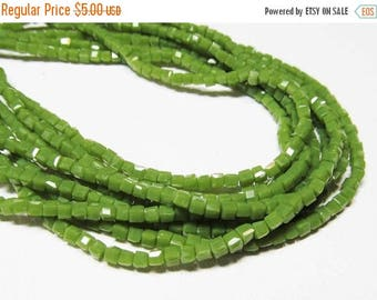 """20% OFF 8.5"""" Glass STRAND - Glass Crystal Beads - TINY 2mm Cubes - Opaque Pea Green (8.5 inch strand - 95 beads) - str1012"""