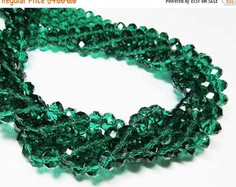 """20% OFF 6.5"""" Glass STRAND - Glass Crystal Beads - 6x8mm Rondelles - Teal Green (6.5 inch strand - 27 beads) - str1087"""