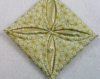 White and  Gold Cathedral Window Quilted Christmas Ornament 203
