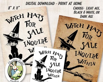 Halloween Witch Hat Printable Sign, Vintage Digital Download, Halloween Clipart, Black Cat Clip Art, Witch Sign, Image Transfer, Wall Art