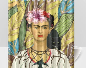 Frida Kahlo and Black Cat Shower Curtain