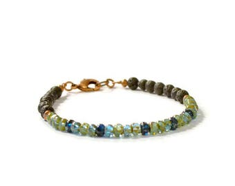 Lava Rock Aromatherapy Bracelet with Green/Blue Czech Glass and Antique Copper,  Essential Oil Diffusing Jewelry