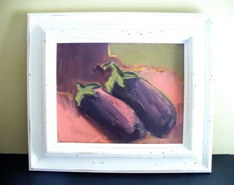 White Framed Art Eggplant Painting  Distressed Frame Kitchen Wall Decor