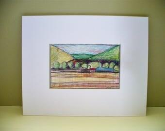 Utah Farm Watercolor Drawing Original Artwork Blue Barn Mountains