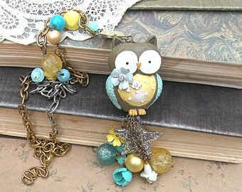summer meadow owl necklace assemblage star pastel upcycled vintage jewelry cottage chic girly blue yellow