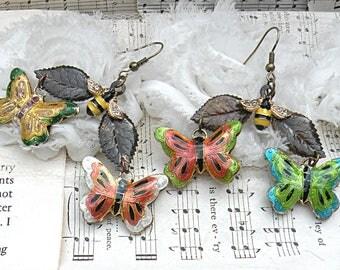 butterfly earrings assemblage bees wide leaves summer fairy garden recycled enamel jewelry flea market finds