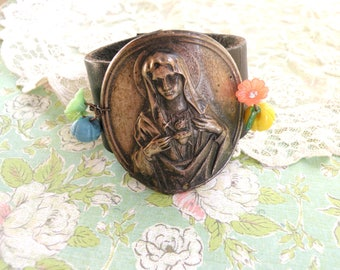 religious leather cuff catholic assemblage recycled sacred heart upcycled jewelry rustic religion