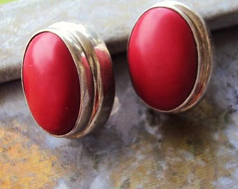 Vintage Sterling Silver Earrings Red Agate Stone Mexican Mexico Silver Boho Bohemian Chic Art Jewelry Makers Mark Brick Red 1970s Hippie