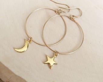 Moon and Stars Gold Hoop Earrings . Cosmos .