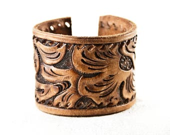 Christmas Sale Leather Jewelry, Leather Cuff, Leather Bracelet, Tooled Leather, Vintage Leather, Brown Leather, Tan Leather