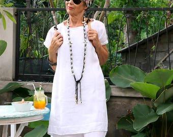 LINEN, Irra Tunic, Oversize Tunic, Resort Wear, Bohemian, Island Style, Beach Dress, Coverup,  Caftan, Kaftan, 4 Sizes