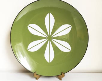 Green and White Cathrineholm Lotus Pattern Large Enamelware Plate