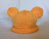 READY TO SHIP Knit Winnie the Pooh Hat, Knit Bear Baby Hat