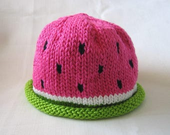 READY TO SHIP Knit Watermelon Cotton Baby Fruit Hat great photo prop