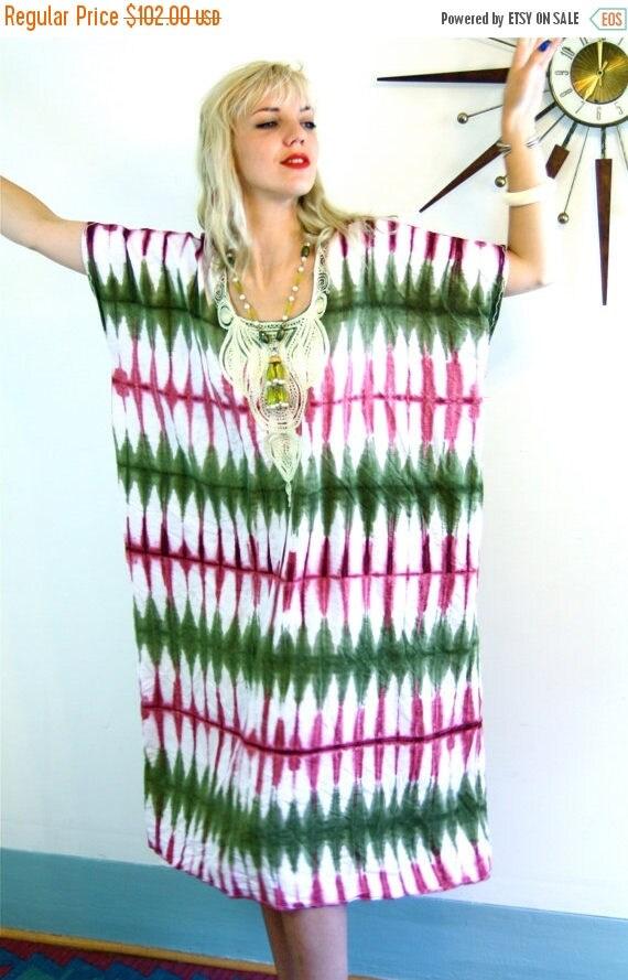 SALE 50% OFF Vintage 70s Kaftan/ Cotton Caftan/ Pink Army Green Tie Dye/ African Dashiki/ Boho Coverup/ Hippie Cotton Maxi Dress/ 1970s Ethn