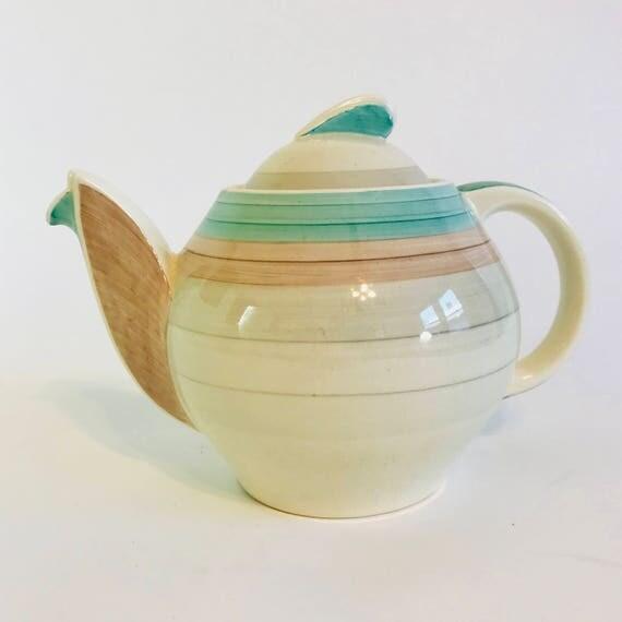 40s Susie Cooper teapot, Art Deco Teapot, Susie Cooper Kestrel, Berslem Crown Works, 50s vintage teapot, pink teal banded, Large tea pot